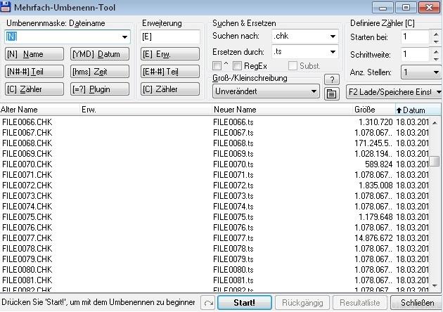 Technistar S1 Mehrfach Umbenennen Dateisystemfehler TS S1