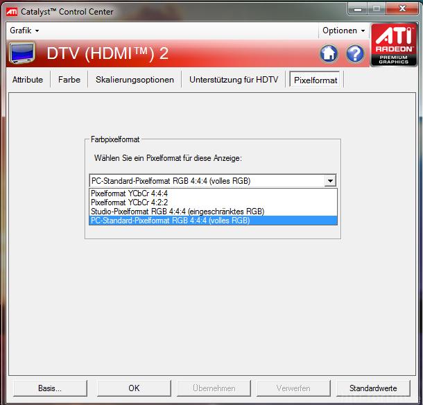 ATI CCC Sony EX 402 Einstellung Für Farbraum