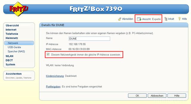 DHCP-Einstellungen Fritzbox