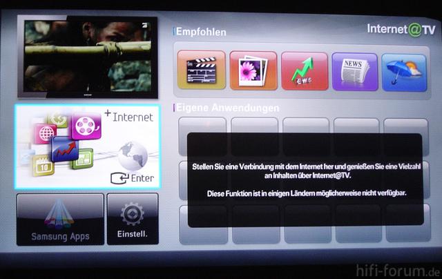 Samsung Internet@TV Fehlermeldung