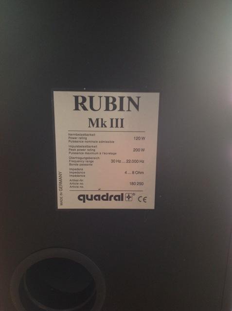 Rubin MK III Etikett