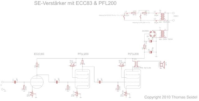 SE Verstärker Mit ECC83 & PFL200