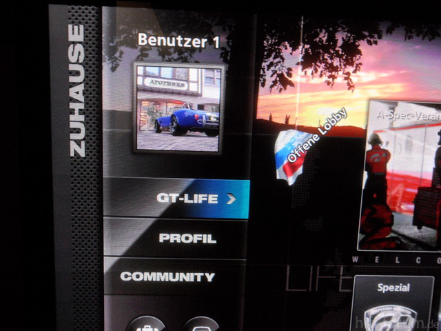 "GT5 GT-Mode Screen, Eingang Als ""PC"" Gelabelt"