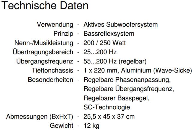 Technische Daten Canton AS 85.2 SC