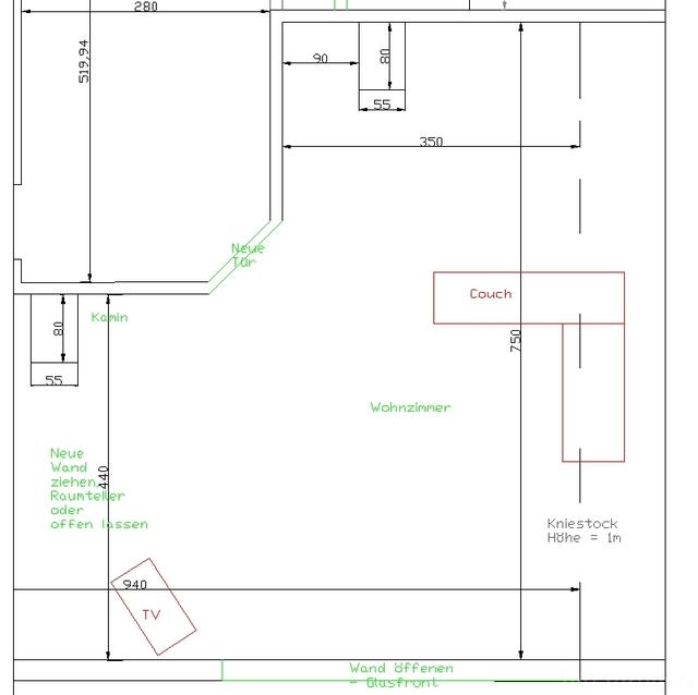Rohbau Wohnzimmer