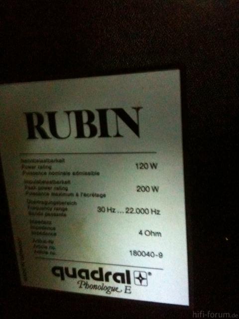 Typenschild Quadral Rubin