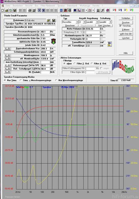 G-Sub 18/500 Berechnung WinBoxSimu