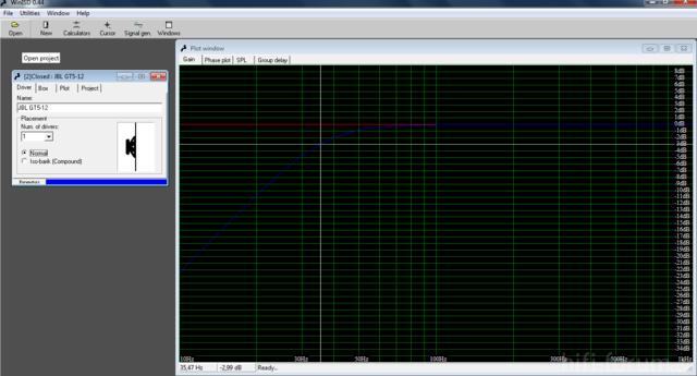 Messung JBL GT5-12 In 90 Liter