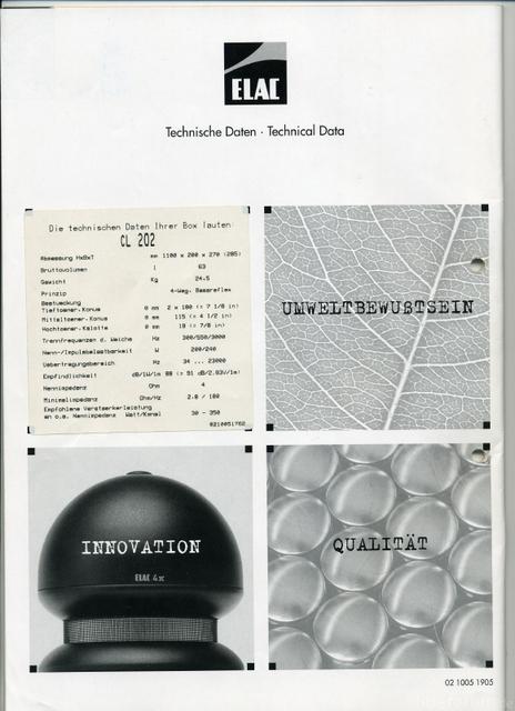 Spezifikation ELAC CL 202 Kaufdatum 1998