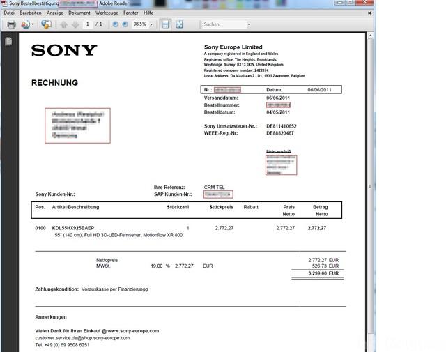 Sony Versandbestätigung (55HX925)