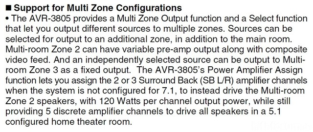 Denon AVR 3805   Multi Zones 1