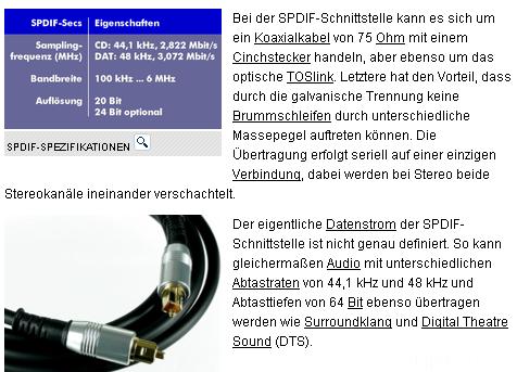 SPDIF Specs