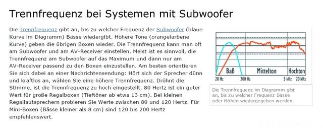 Trennfrequenz Für Subwoofer