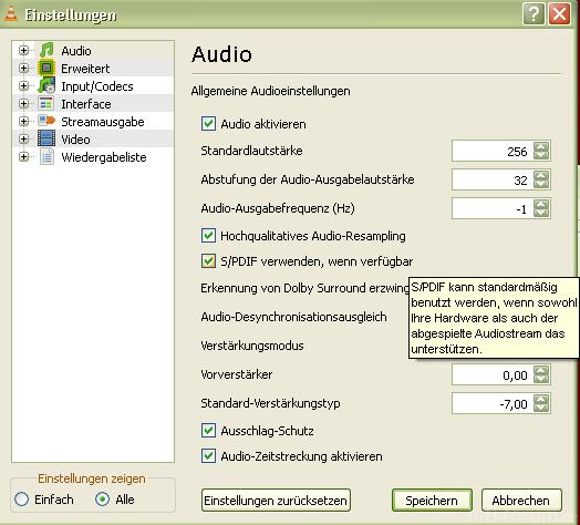 VLC Player SPDIF, Wenn Verfügbar