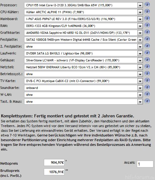 Vorschlag HTPC, 1. Version