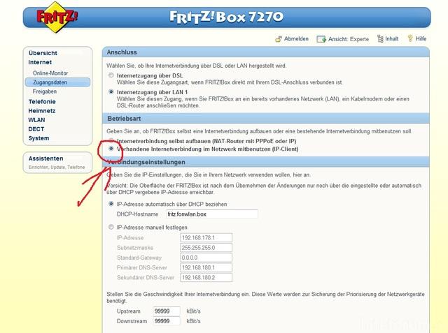 UE40D6500 Fritzbox 7270 LAN