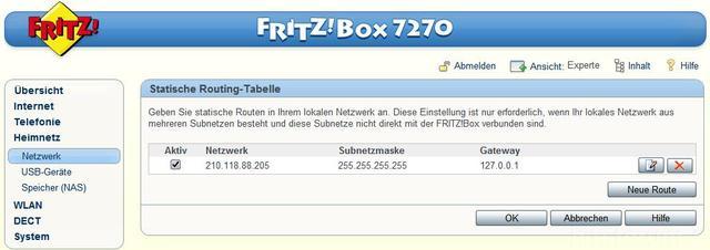 Statische Route In Der Fritzbox