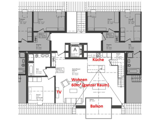 Die Wohnung Ist Auf Zwei Etagen, Das Bild Zeigt Die Untere. Ich Habe An  Eine Sonos PLAYBAR Unter Den TV Plus 2x Sonos PLAY:3 Gedacht, Weiss  Allerdings Nicht ...