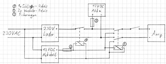 frage zur relais schaltung mit 2 6 volt akkus sonstiges hifi forum. Black Bedroom Furniture Sets. Home Design Ideas