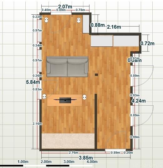 Wohnzimmer Draufsicht 2d