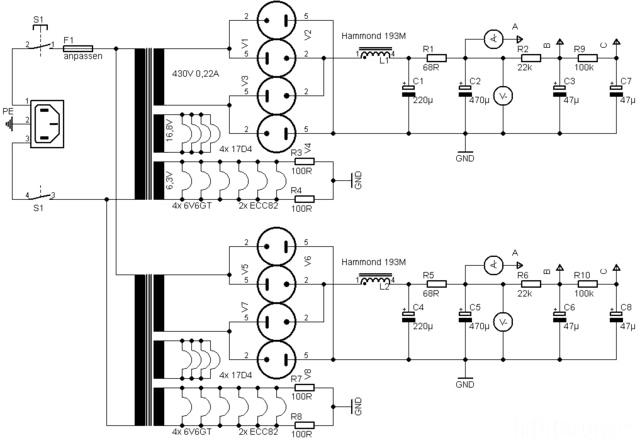 6V6GT PP Mit EF86 ECC82 Netzteil