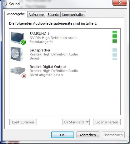 Systemsteuerung -> Sound
