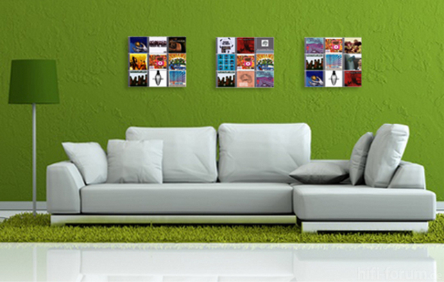 Designer CD-Wandregale CD-Wall Square Hinterm Sofa