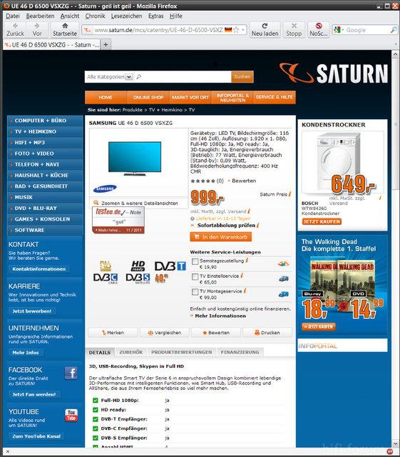 Saturn-Werbung Vom 4.11.2011