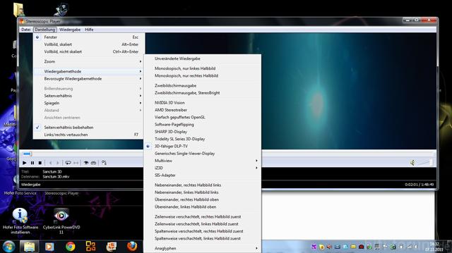 Screenshot Stereoscopic Player