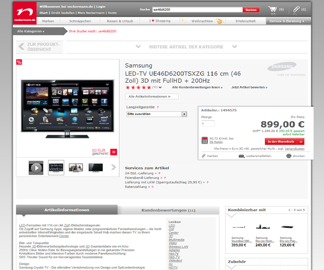 Samsung LED-TV UE46D6200TSXZG 116 Cm (46 Zoll) 3D Mit FullHD + 200Hz