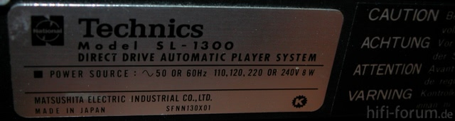 Technics SL-1300 Typenschild