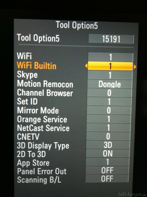LG Service Menü - Wifi Builtin