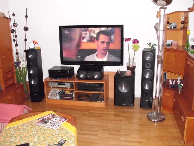 "Wohnzimmer - TV-front; Canton, Onkyo 609, Panasonic 50"""