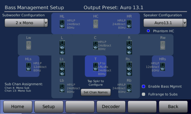 Datasat RS20i Bass Management Auro 3D Output
