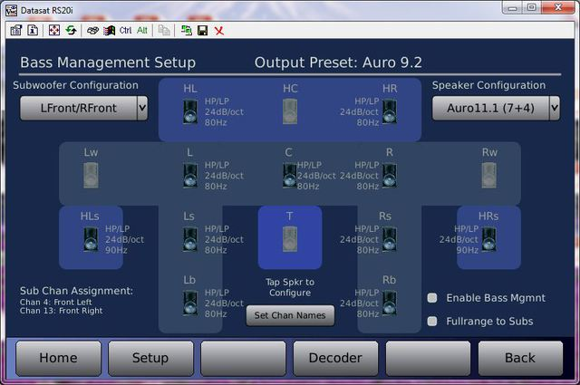Datasat RS20i Output Preset Auro 9.2