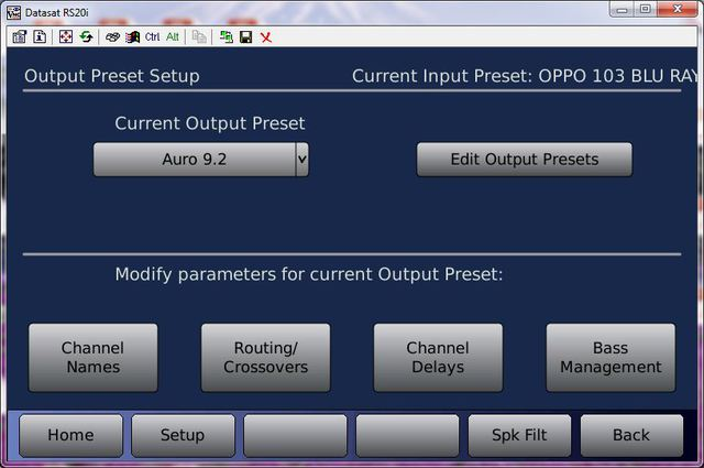 Datasat RS20i Output Preset