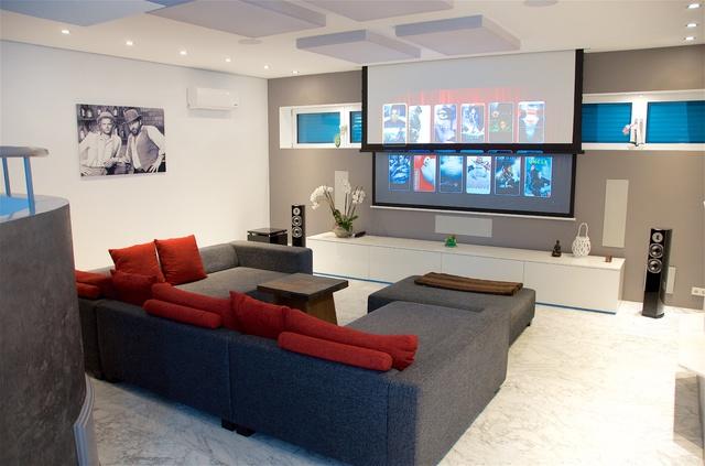 Wohnzimmer bilder leinwand  Motorisierte inceiling Leinwand Wohnzimmer für Neubau, Optionen ...
