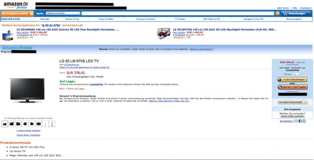 Amazon LG 55 LM 670S Für 378,42€