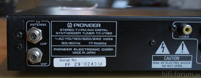Pioneer TX-V 1160 Back2