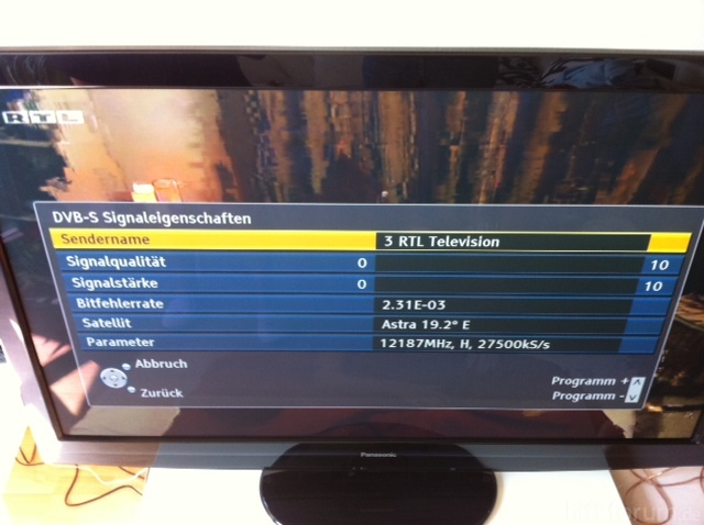 Empfangsparameter Ohne Hand An Der TV-Sat-Buchse
