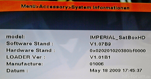 System Informationen Meiner IMPERIAL SatBOX HD