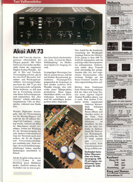 Akai AM 73 Test 88