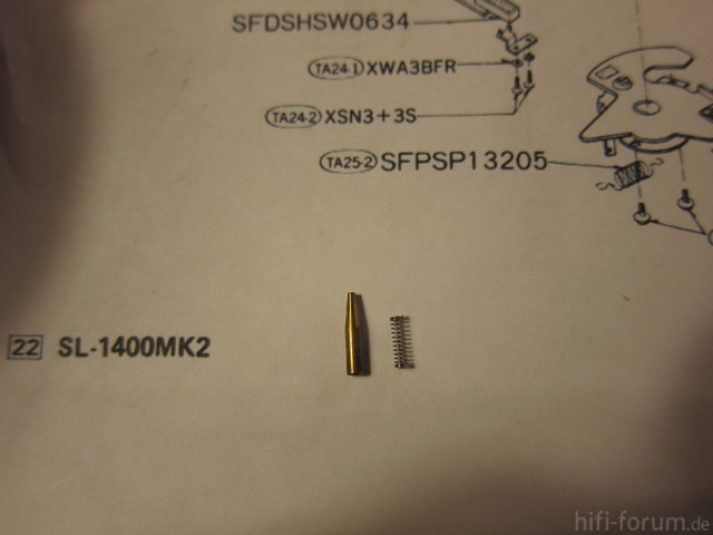 Small Parts In Arm Assembly Technics SL1410 Mk II