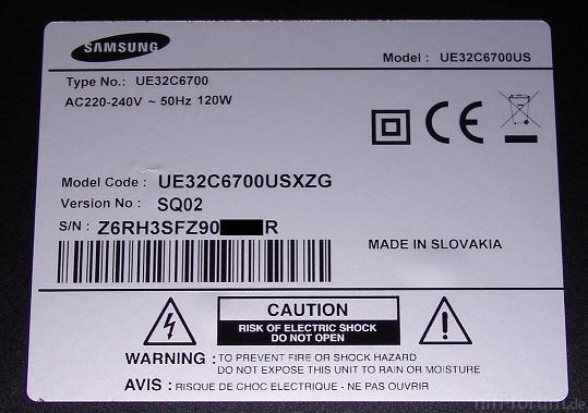 Samsung UE32C6700 Mit SQ02-Panel