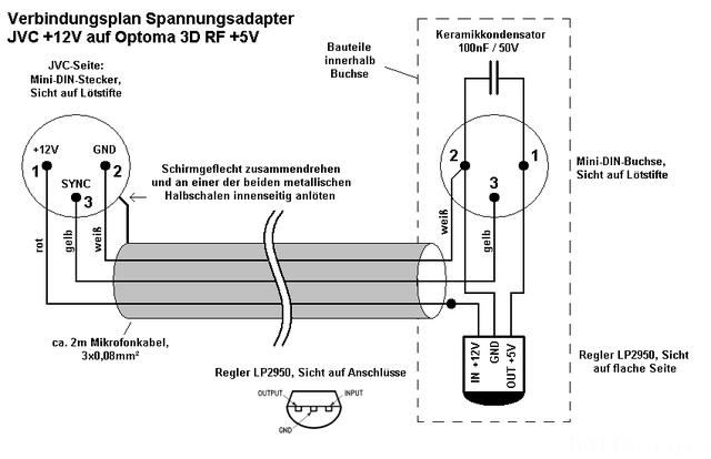 Verbindungszeichnung Spannungsadapter JVC X30/70/90 +12V Auf +5V