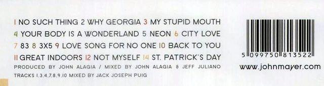 CD John Mayer - Ausschnitt