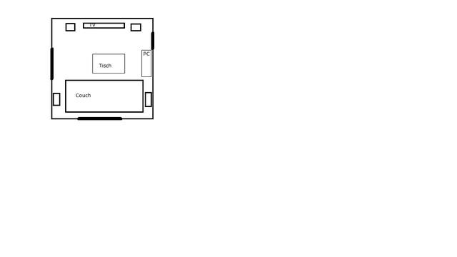 Wohnzimmer Skizze 4x4m
