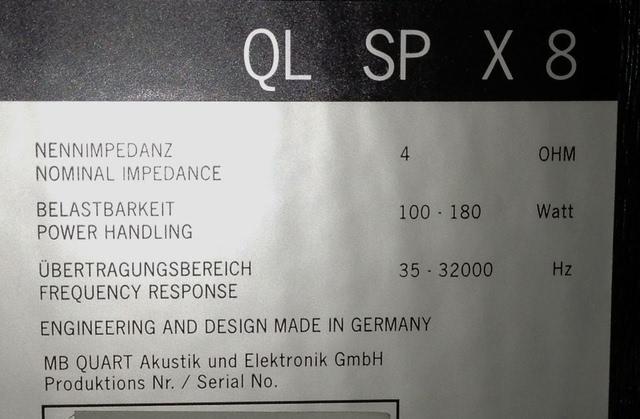 MB Quart QL SP X 8 technische Daten