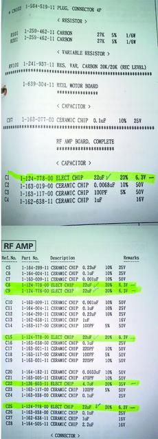 Sony DTC ES 59 Kopfverstärkerplatine auszutauschende Bauteile