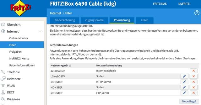 Fritz Router Priorisierungen